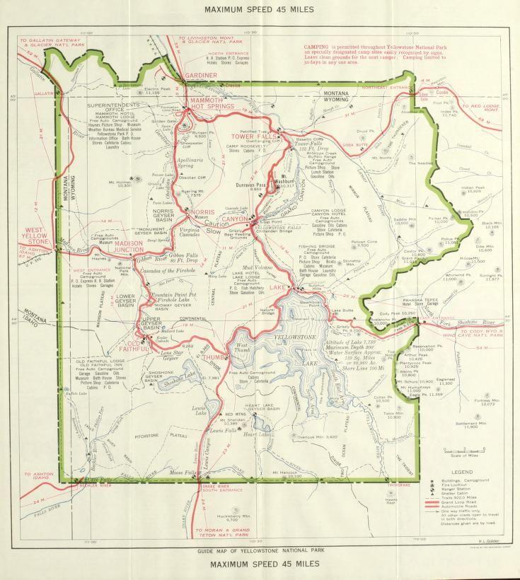 United States Map Yellowstone National Park.Guide Map Of Yellowstone National Park United States National