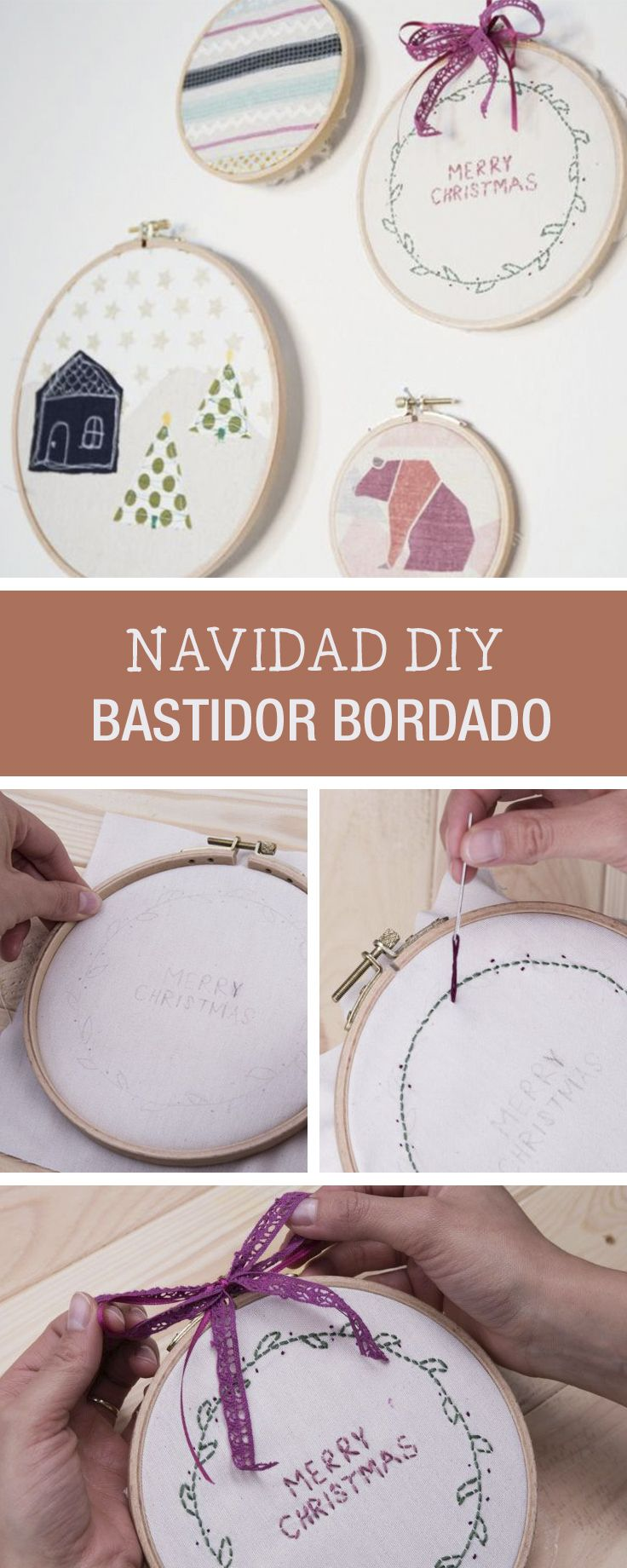 Tutoriales DIY: Cómo bordar un bastidor con motivos navideños vía ...