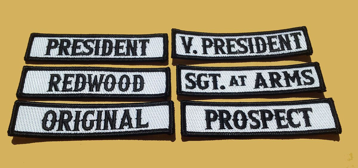 SON OF OUT LAW MC CLUB OFFICER TITLE 6 PC FRONT BIKER MC PATCH