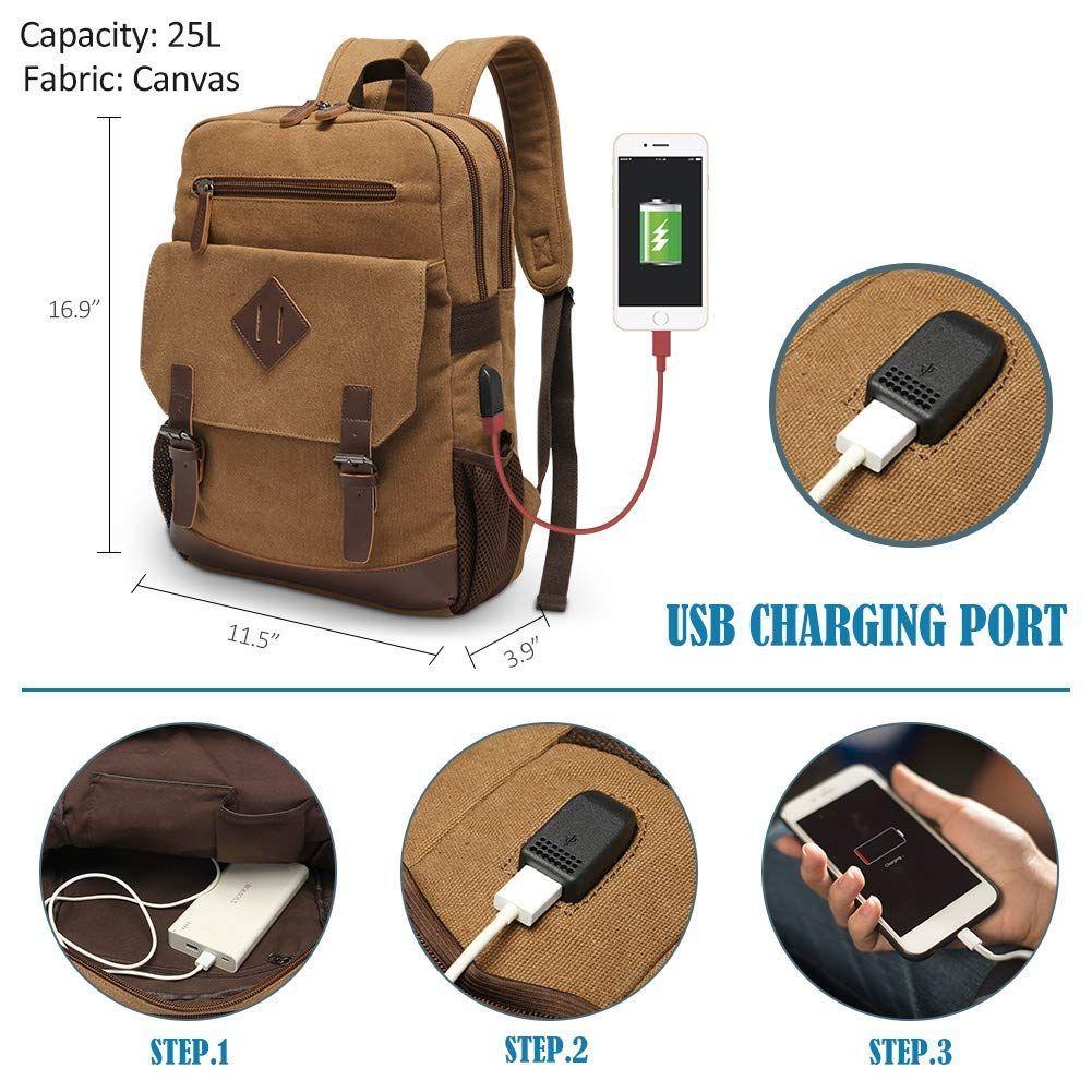 Men Travel Laptop Backpack Business Leather USB Charging Brown Vintage Daypack