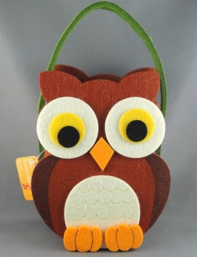 World Market Felt Basket Container Figural Owl Easter Holiday Hang Tag Craft