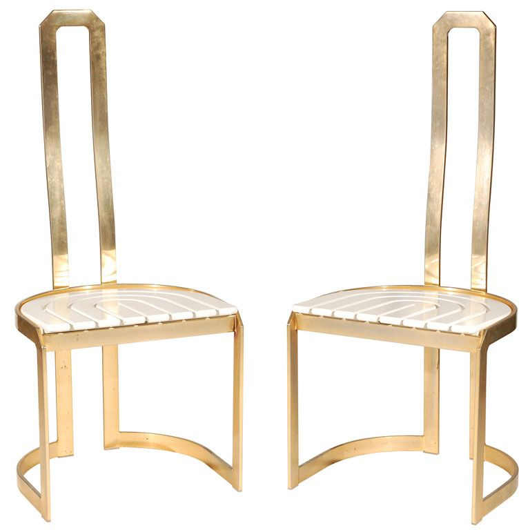 A Pair Of Sculptural High Back Dining Chairs In Brass At 1stdibs Dining Chairs High Back Dining Chairs Rustic Dining Furniture High back dining chairs