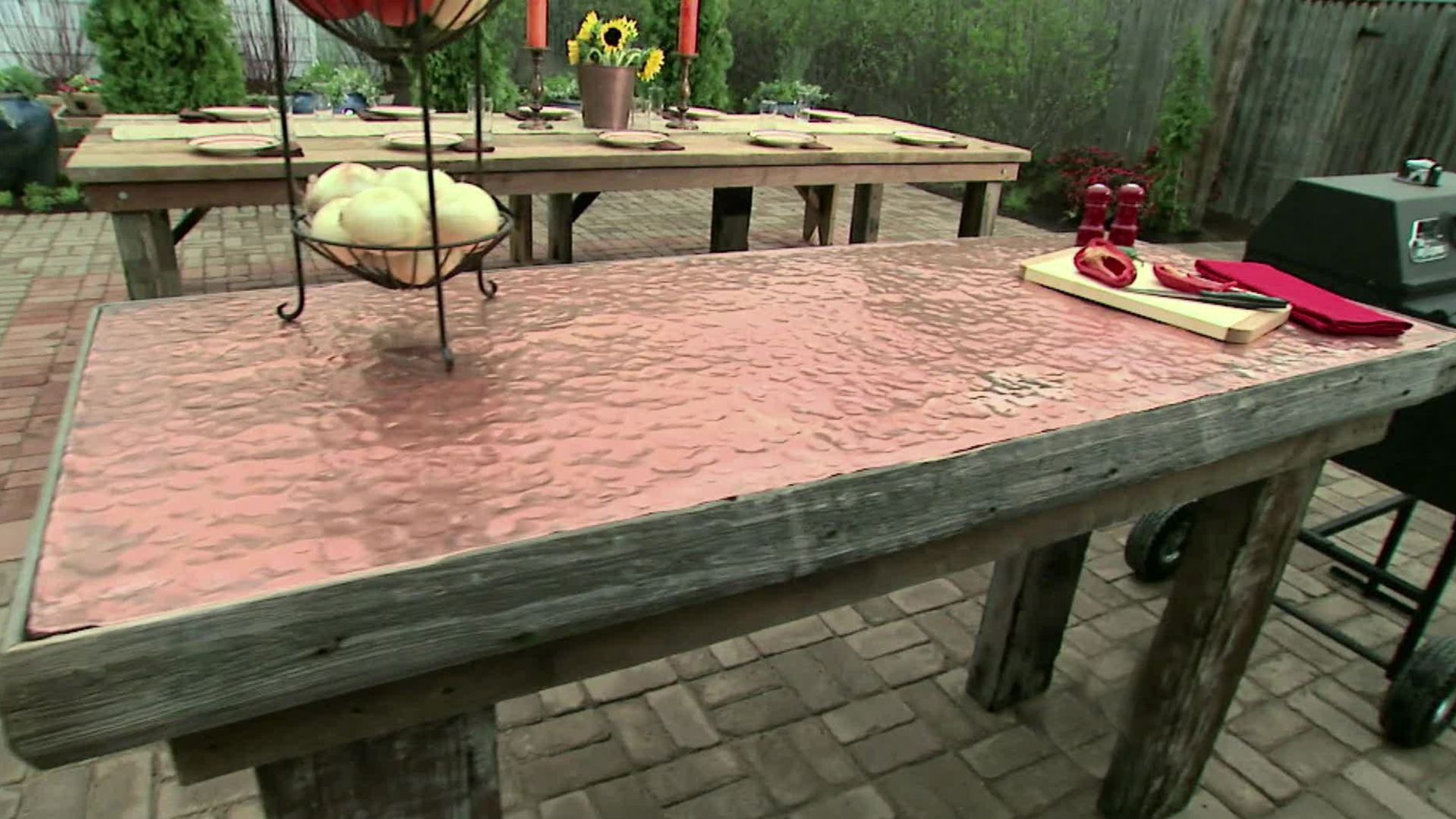 Check Out How We Made This Outdoor Food Prep Table Out Of Recycled Lumber  With A