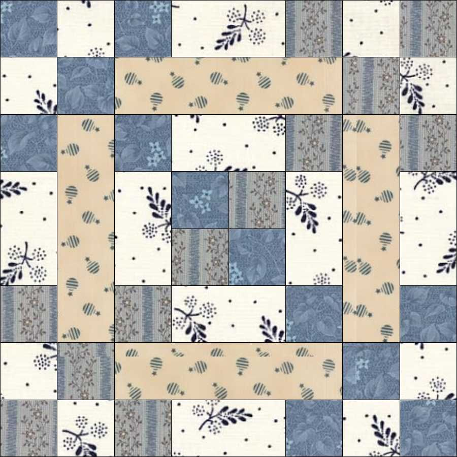 June 12 Hen and Her Chicks was first published in the Kansas City Star in 1947. The block is quite variable. Variations include: * a plain square in the centre, * the centre patch the same size as the nine-patch * without the long strips joining the nine-patches