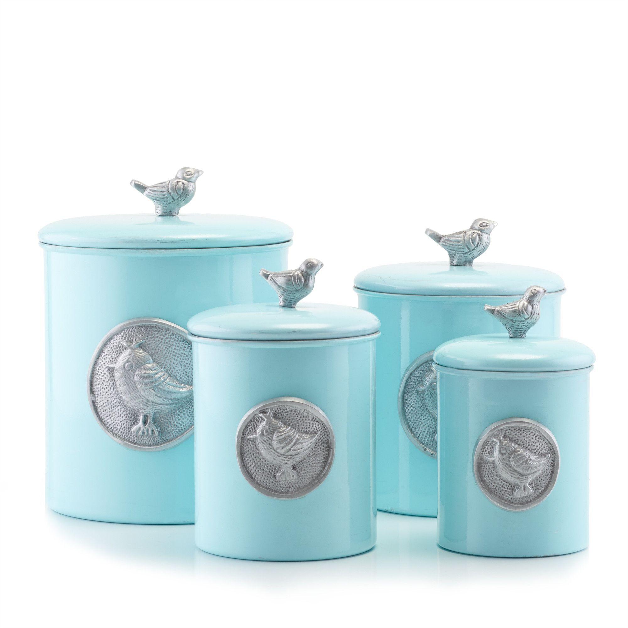 Lauren Bluebird 4 Piece Kitchen Canister Set | Canister sets ...