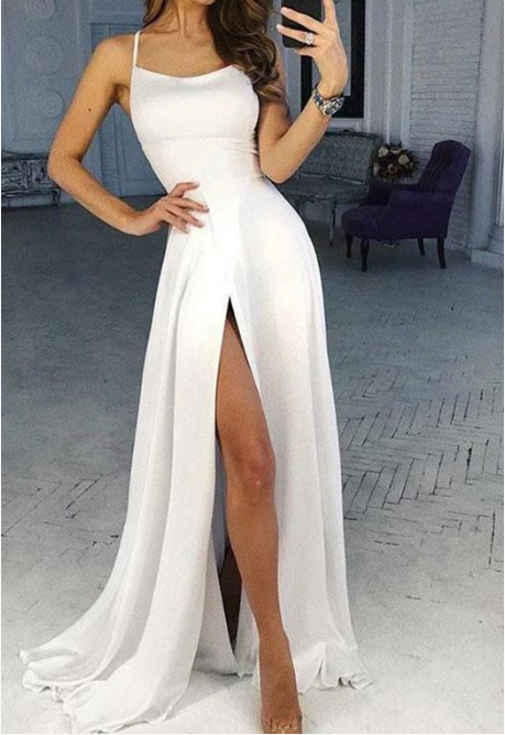 Simple White Scoop High Slit Satin Prom Dresses, L