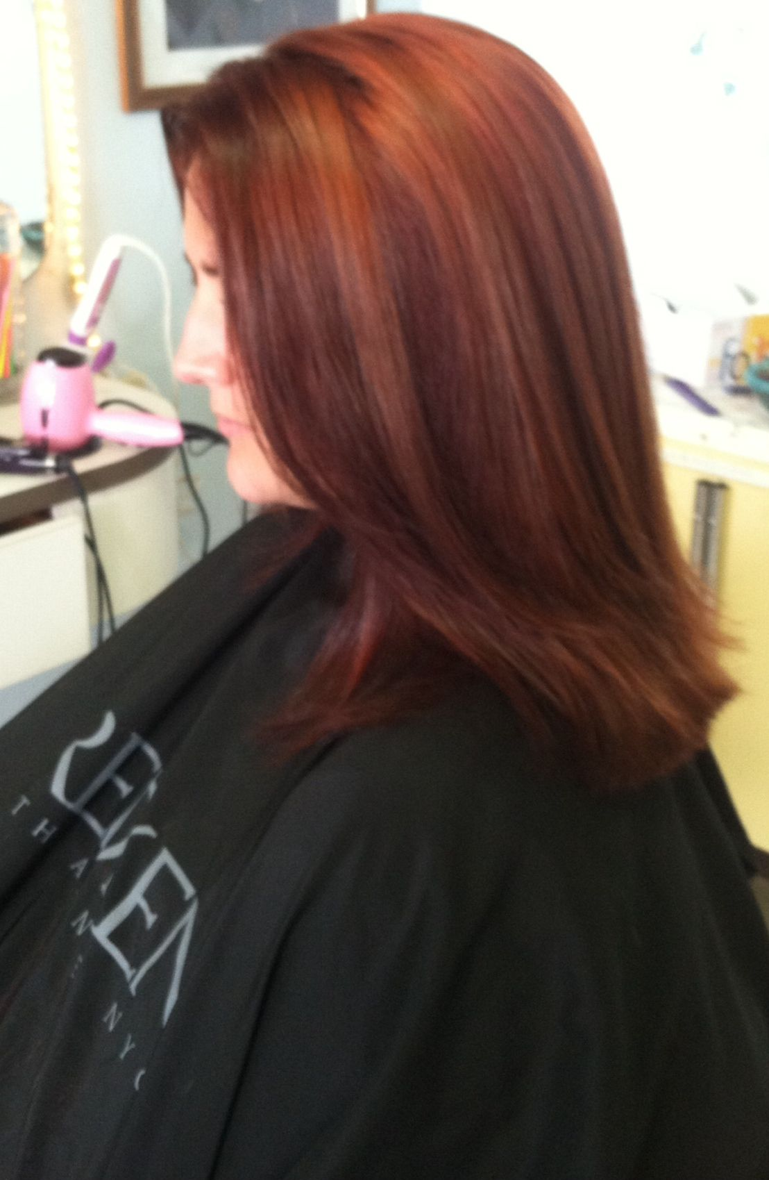Beautiful Redken Red Bottom Half Of Her Hair 1 2 5n And 6rr The Top Part Of Her Hair 6r I Used 10vol For 30mi Hair Color Formulas Thick Hair Styles Hair Color