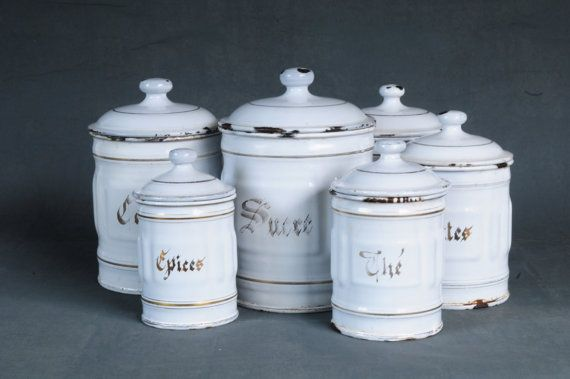 French Kitchen Canisters Set Of 6 Antique White Enamel By Indru