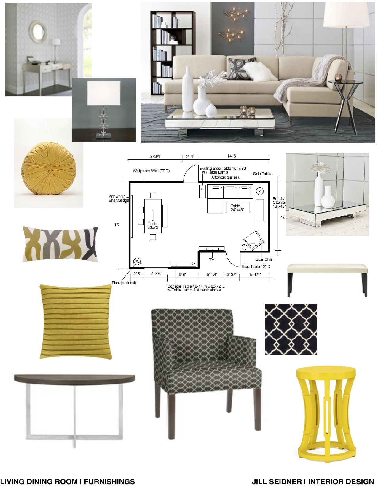Concept board for an apartment living and dining room