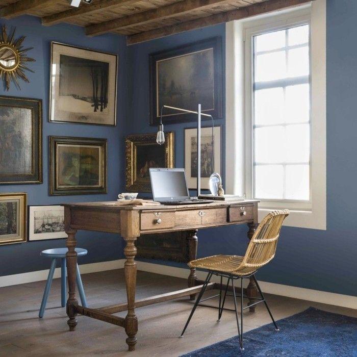 Arbeitszimmer Wandfarbe aktuelle blautöne und farbmuster in der raumgestaltung 2017
