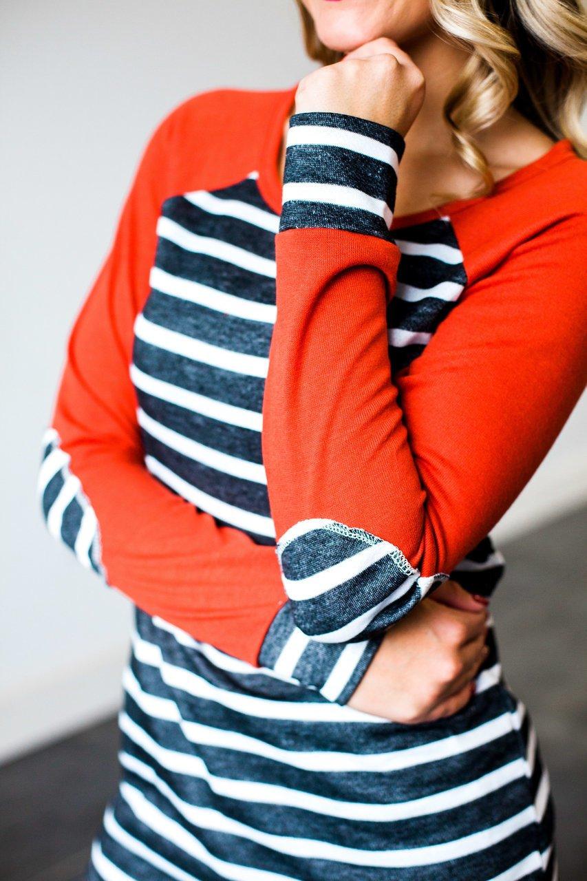 46b9834281872 Women s Striped Long Sleeve Blouse Loose Patchwork Tunic Sweatshirt ...
