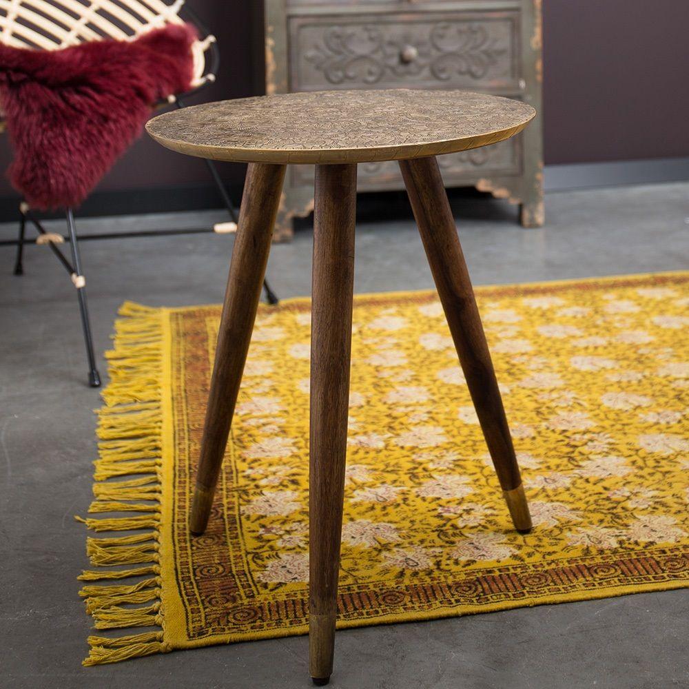 Indian Block Printed Rug In Yellow Indoor Rugs