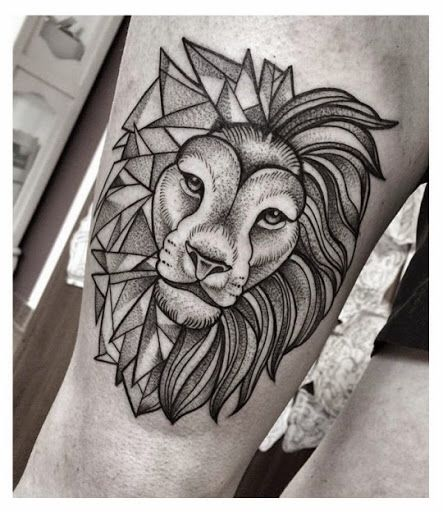Another head tattoo of a lion, half geometric, half realistic...I love it.