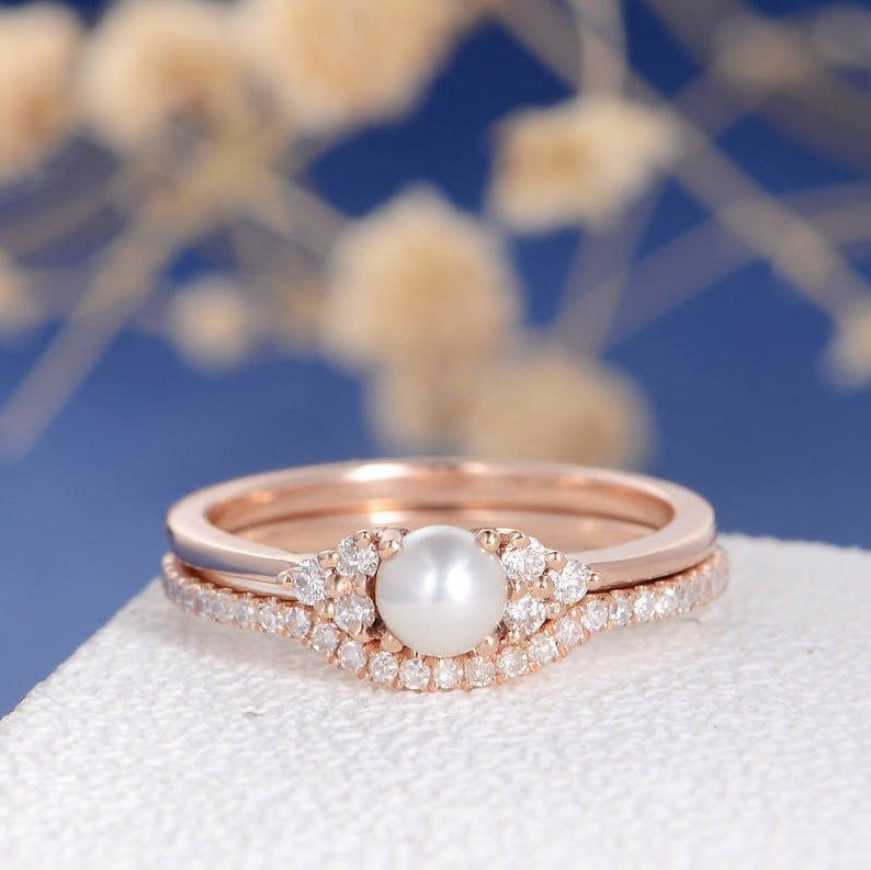 Photo of Pearl Engagement Ring Set Rose Gold Bridal Cluster Diamond Eternity Birthstone Antique Art Deco Women Anniversary Stacking Delicate 2pcs