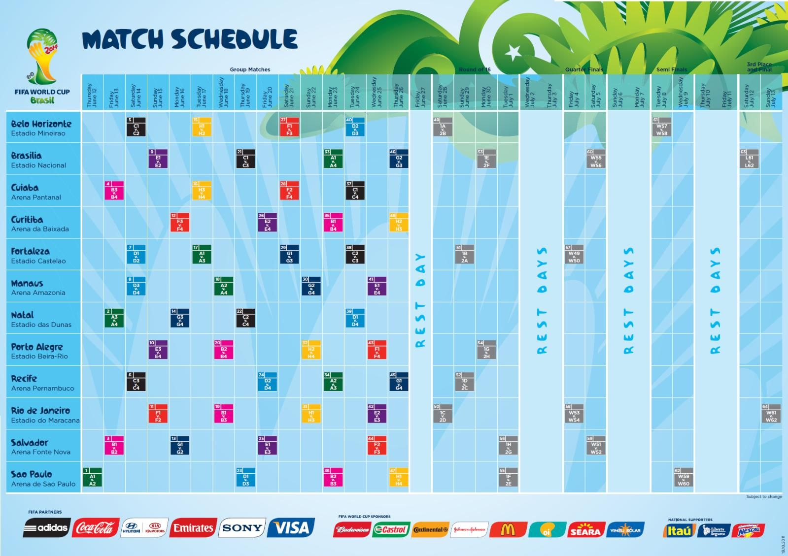 2014 Fifa World Cup Match Schedule Pdf Download World Cup Schedule Fifa 2014 World Cup World Cup Match