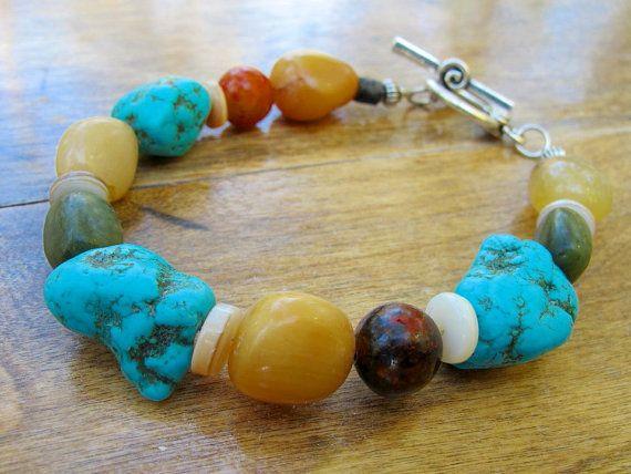 Tribal Gemstone Bracelet Turquoise Ethnic by EarthGoods4TheSpirit, $45.00