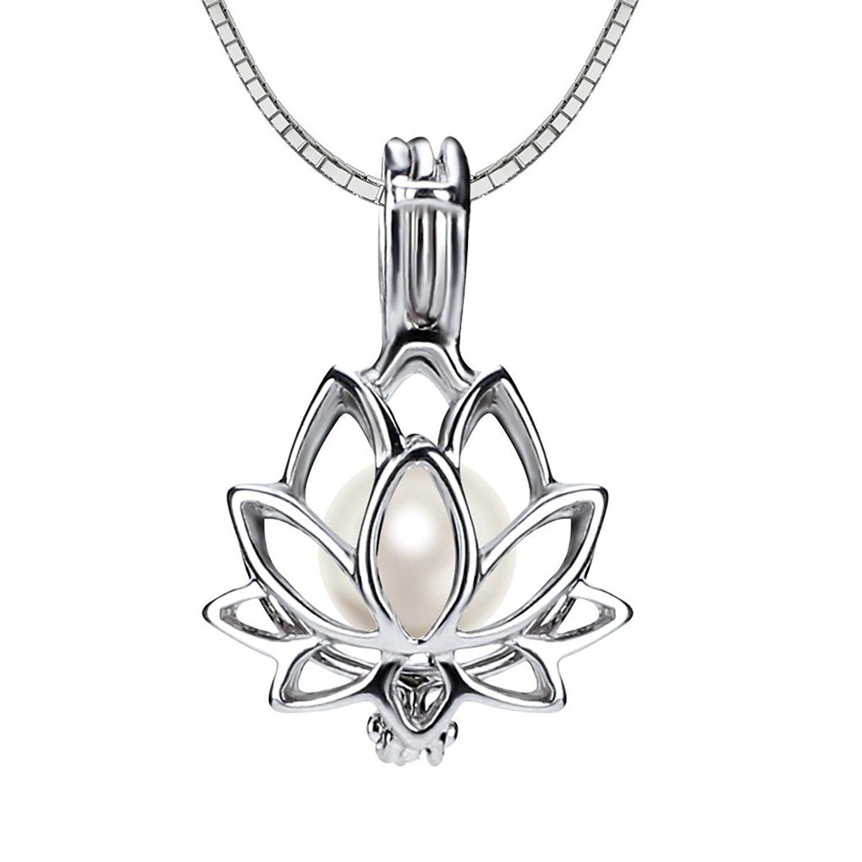 Ny 925 Sterling Silver Lotus Flower Pearl Locket Pearl Pendant