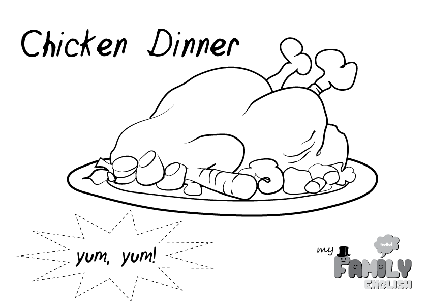 Chicken Dinner Coloring Page