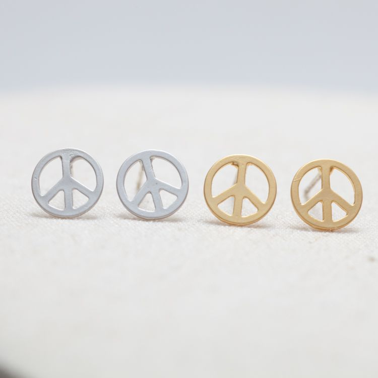 stainless sign for war stud pin earrings women anti steel man and peace