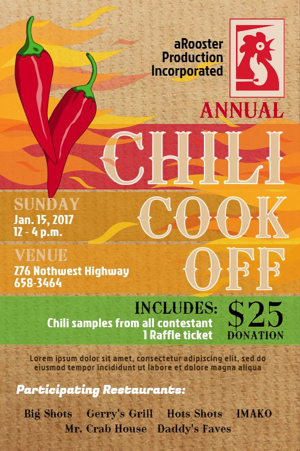 chili cook off poster template. click to customize. | chili cook, Powerpoint templates
