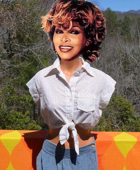 7058b76f vintage 70s western blouse tie half shirt crop top rainbow stripe white  women's Small Medium cowgirl rodeo sexy rockstar 80svintage 70s western  blouse tie ...