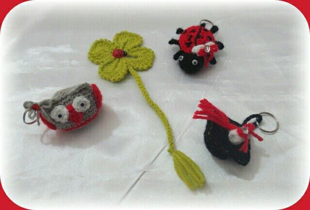 Prototypes for graduation. Quadrifoglio bookmark. Keychain ladybug, owl and touch.