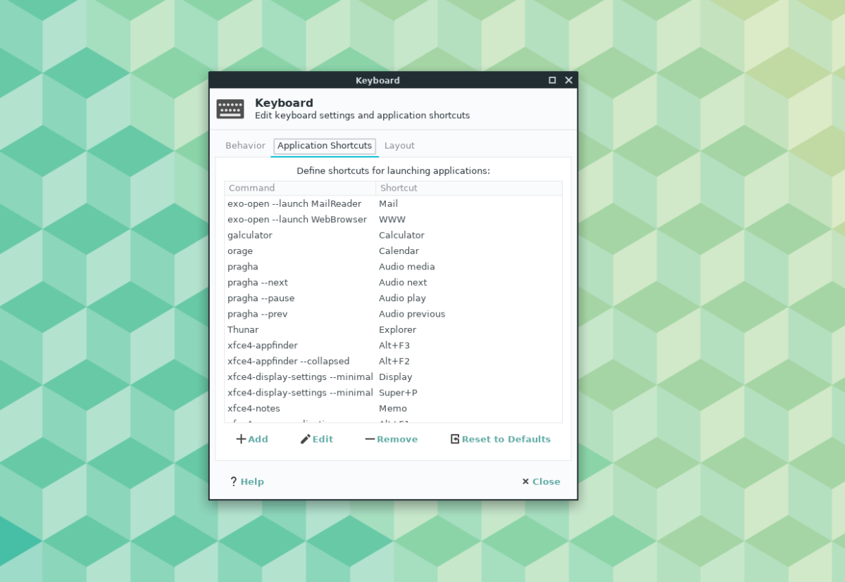 How to customize keyboard shortcuts on the XFCE4 desktop
