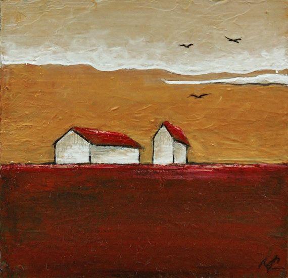 A7 Maisons Et Prairie Petite Peinture Originale Acrylique Et