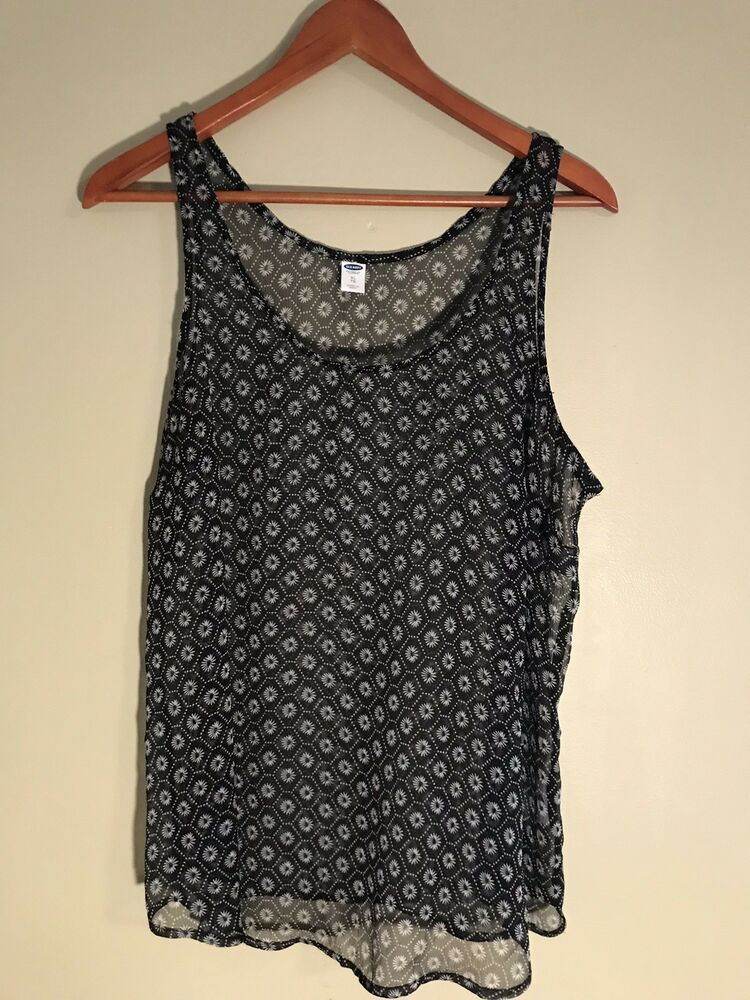c315eafa287a76 Old Navy Sheer Tank Top Black And White Print Size XL #fashion #clothing  #shoes #accessories #womensclothing #tops (ebay link)