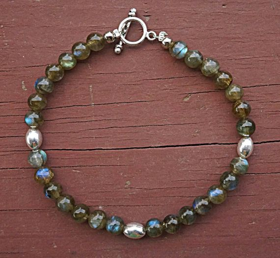 Grade AA  Blue Flash   Rainbow Labradorite Bracelet Finished in Sterling Silver-Plating Findings  High Quality Stones