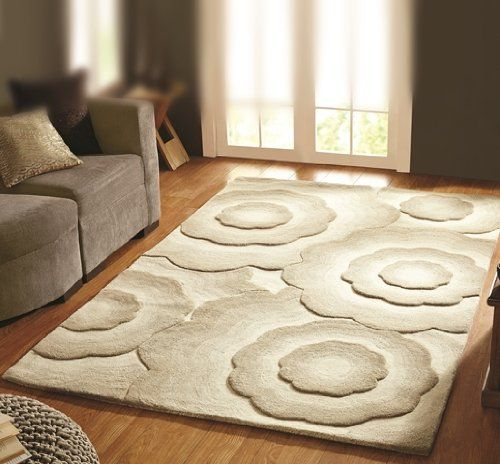 Beige Hand Carved 3d Embossed Large Flower Print Designer Rugs 3 Sizes Essence The Rug House Http Www Amazon Com D With Images Rugs In Living Room Room Rugs Modern Rugs