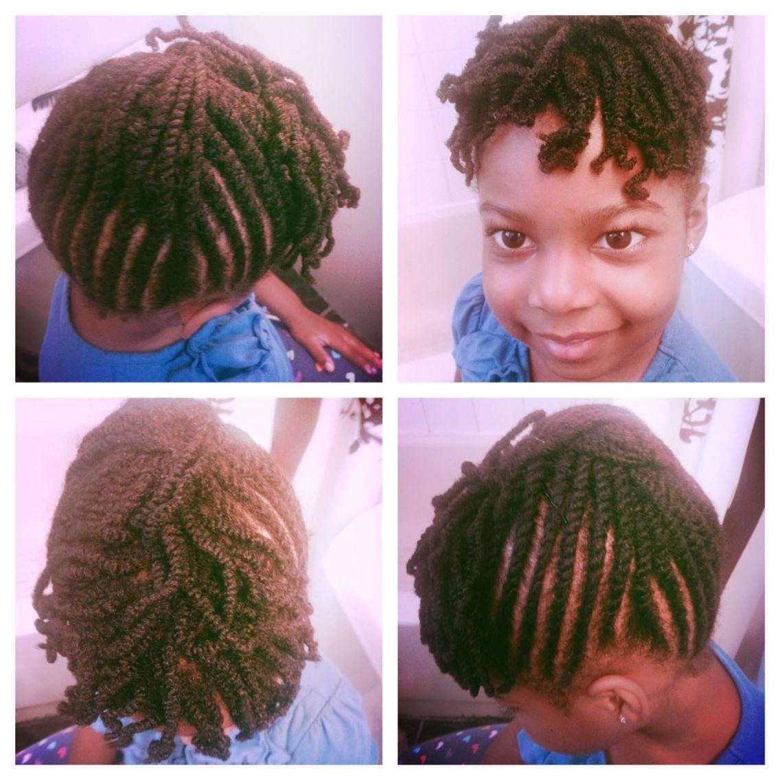kid natural hair style - flat twists - two strand twist bangs   i