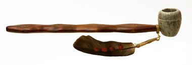 soapstone pipe-Native Americans have used soapstone to make smoking pipes and pipe bowls. They used soapstone because it is easy to carve and drill. Its high specific heat capacity enabled the outside of the bowl to have a lower temperature than the burning tobacco inside. Image © Gill André, iStockphoto.