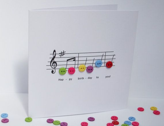 Happy Birthday Music Card Birthday Card With Button Notes