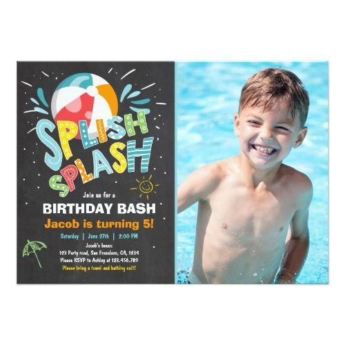 Splish Splash birthday invitation Pool party Splish splash and - birthday invitation pool party