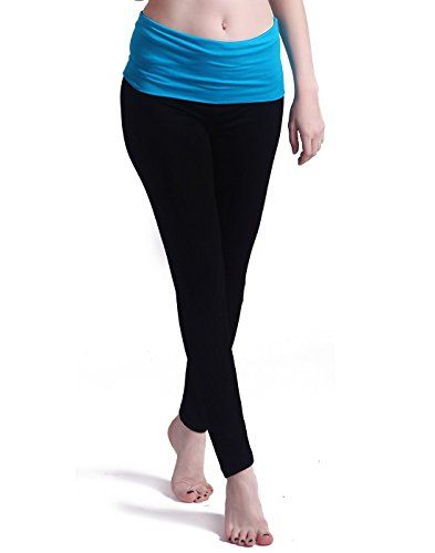4b78e5d7bfcb3 HDE Womens Maternity Yoga Pants Stretch Pregnancy Leggings Fold Over  Waistband Black with Light Blue Medium *** You can get more details by  clicking on the ...