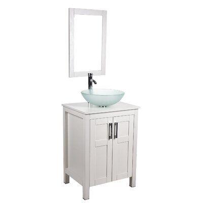 Photo of Wrought Studio™ Sumaya 24″ Single Bathroom Vanity Set with Mirror Sink Finish: White
