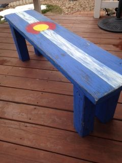 Hand Painted Distressed Colorado Flag Bench Colorado State Flag Painted Benches Colorado Painting