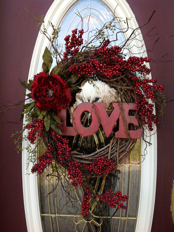 Valentines Day Wreath Door Decor Quot Love Quot Door Wreaths