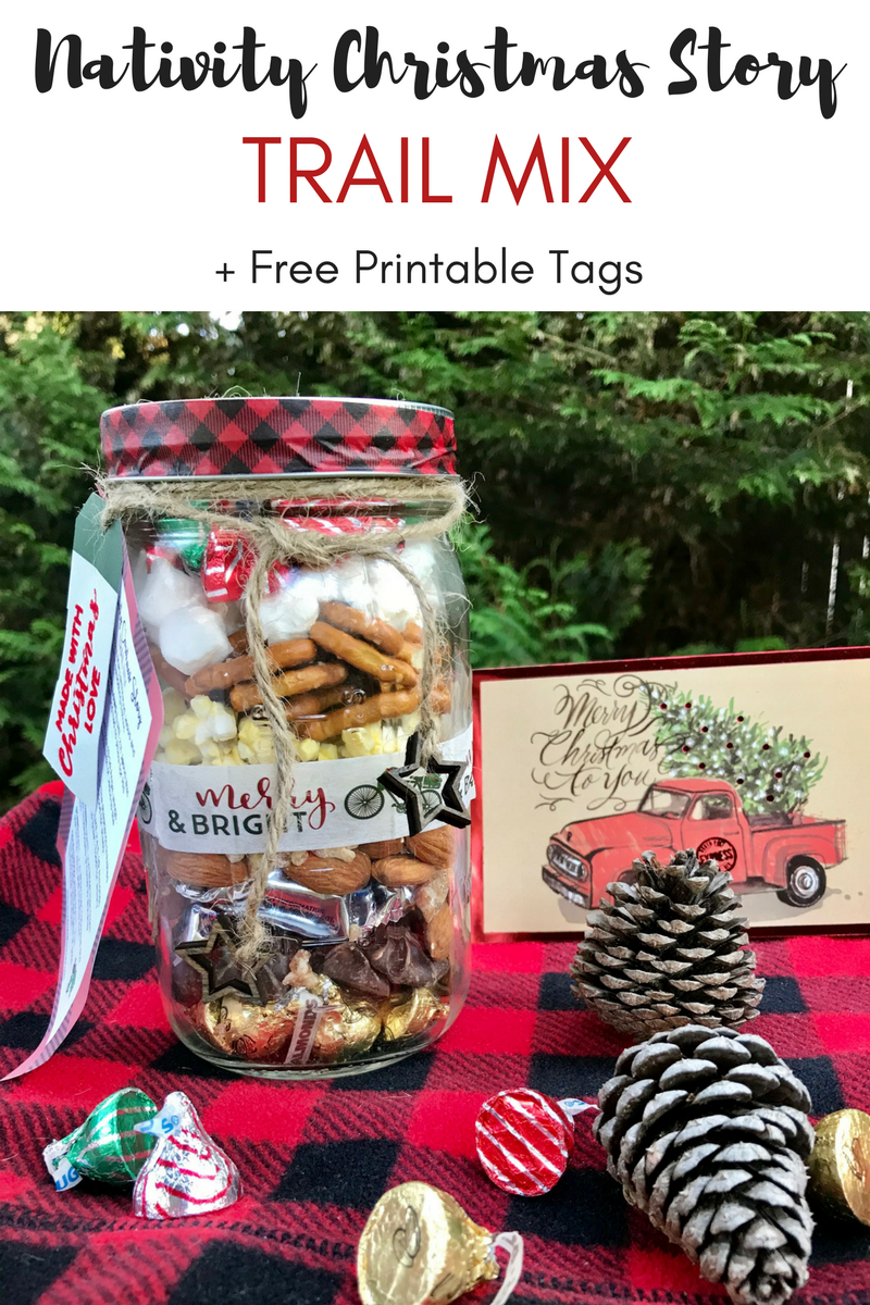 Nativity Christmas Story Trail Mix Mason Jar Gift Free Printable Tag A Hundred Affections Inexpensive Christmas Gifts Mason Jar Gifts Christmas Gifts For Kids