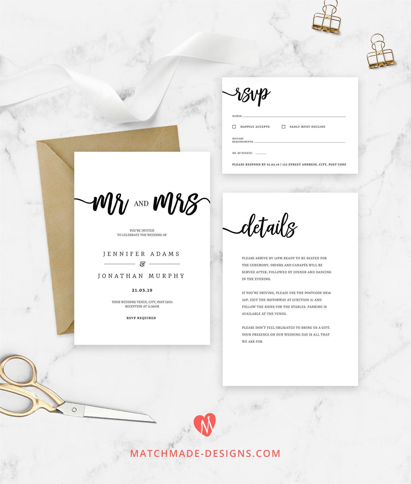 Mr and Mrs Wedding Invitation Template Modern Wedding