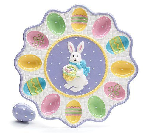 Marvelous Ceramic Easter Egg Holder Plate Platter Bunny Tray Holds 12 Eggs Burton U0026  Burton,http Amazing Ideas