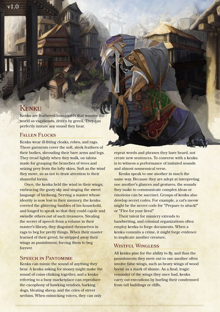 kenku dnd pinterest dnd races racing and 5e races