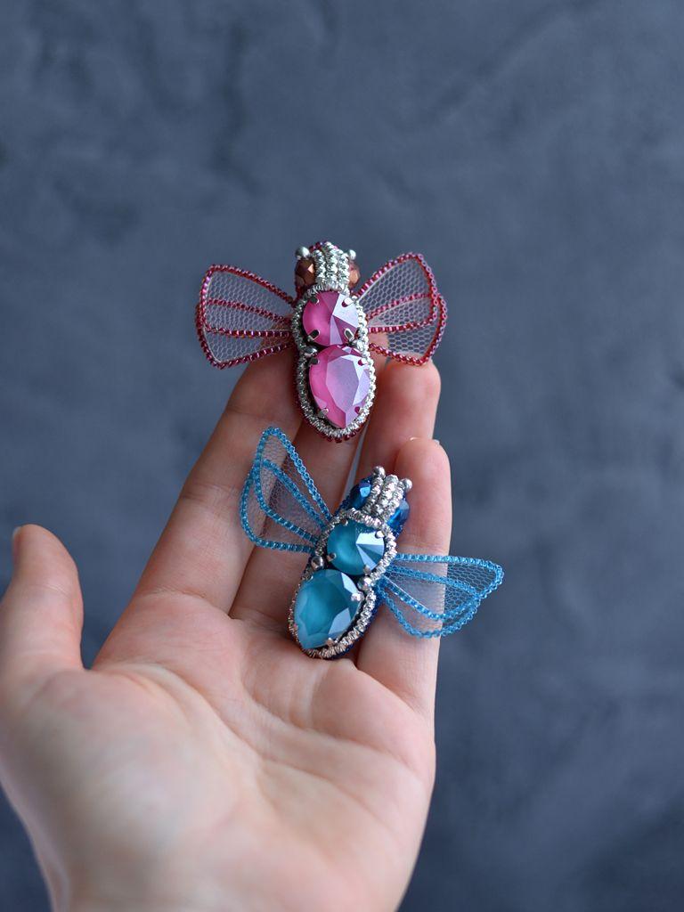 7b4f0fbfb98 Crystal Beetle Brooch Pink Blue Brooch Butterfly Pin Brooch Trendy Insect Jewelry  Swarovski Elements
