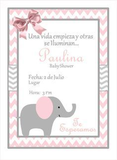 Invitación Elefante Baby Shower Personalizada De
