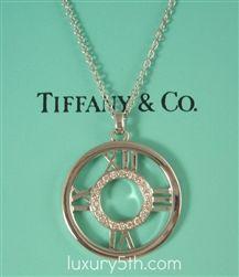 314dbefe6 TIFFANY & Co. 18K White Gold Atlas Diamond Circle Pendant Necklace LARGE