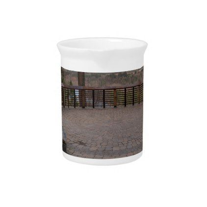 Garden Stone Brick Paver Patio View Deck Beverage Pitcher