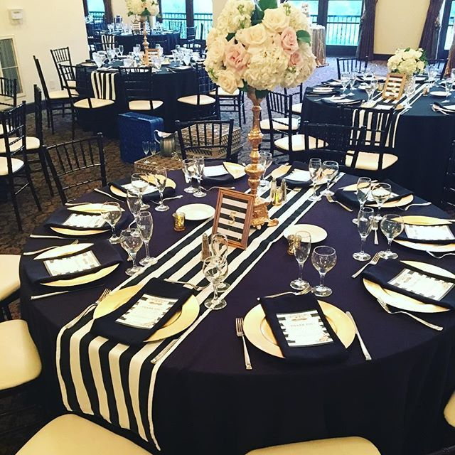 Black Polyester Floor Length Linen, Stripped Table Runners, Gold Charger  Plates, Custom Table Numbers, And Floral By
