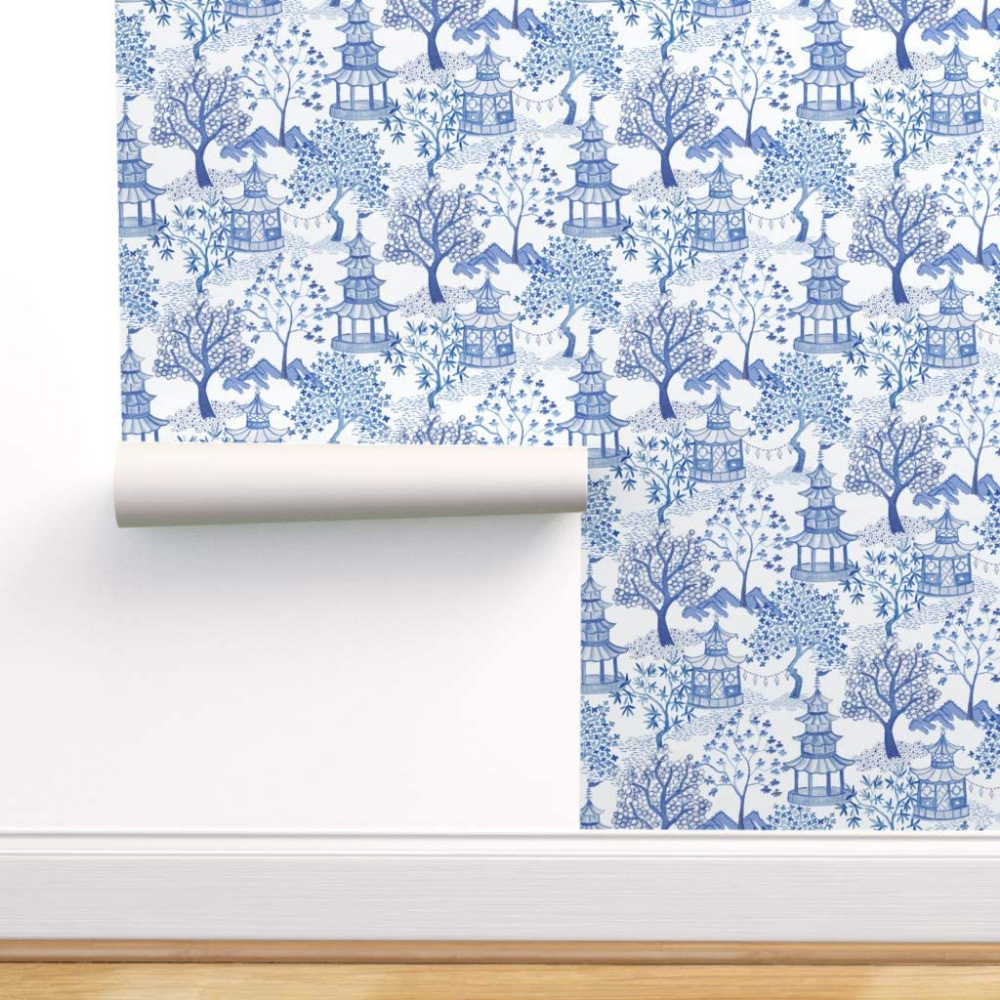 Spoonflower Peel And Stick Removable Wallpaper Chinoiserie Blue And White Blue Willow Toile Pagoda Chi Removable Wallpaper Self Adhesive Wallpaper Chinoiserie