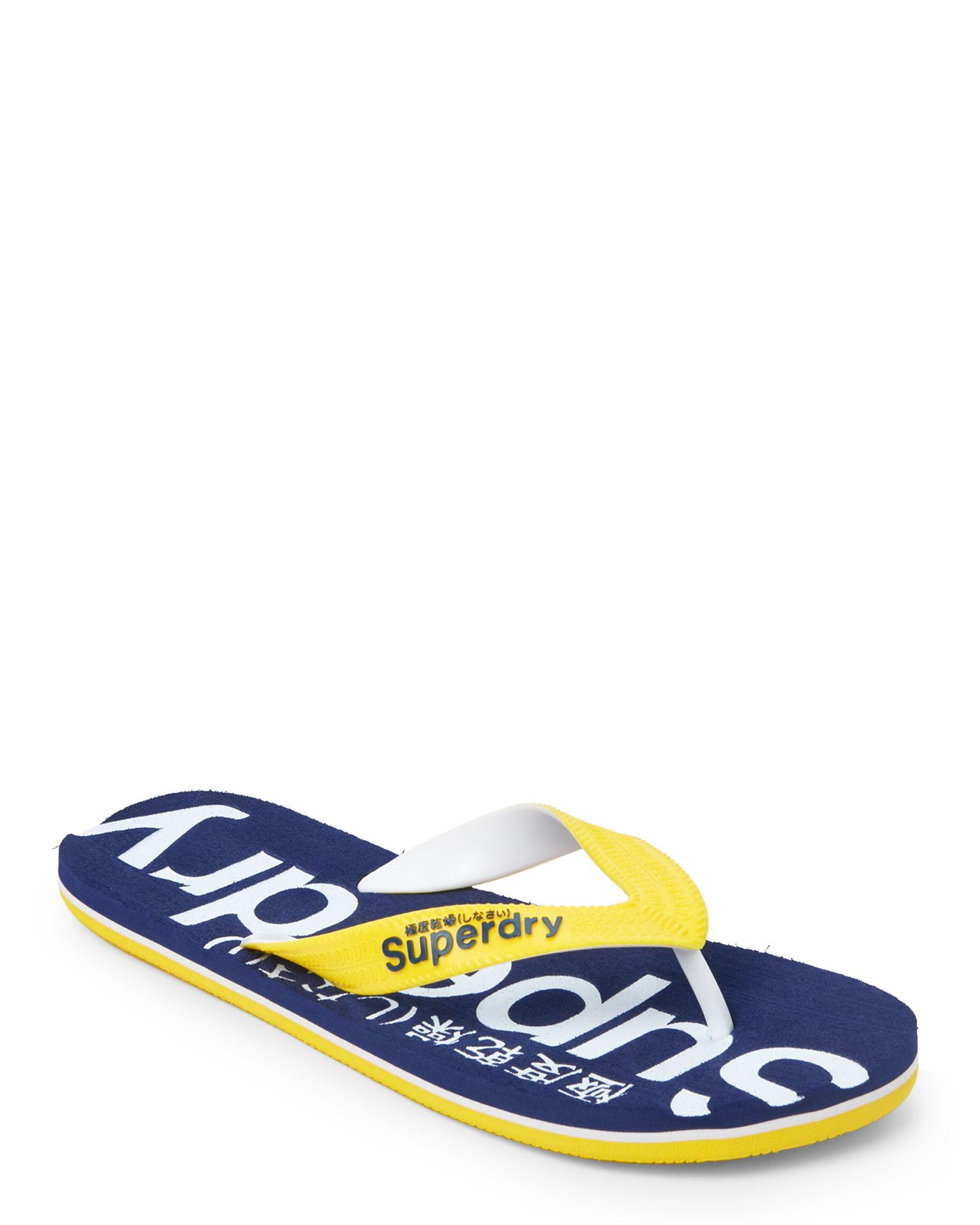 Superdry Navy & Yellow Logo Flip Flops